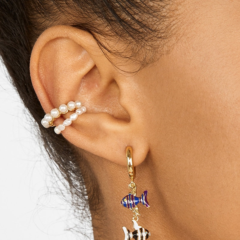 2020 New Fashion Pearl Ear Cuff Bohemia Stackable C Shaped CZ Rhinestone Small Earcuffs Clip Earrings - mbrbproducts