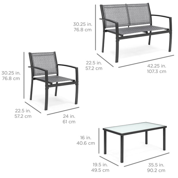 Outdoor Patio Metal 4-Piece Conversation Furniture Set, Gray - mbrbproducts
