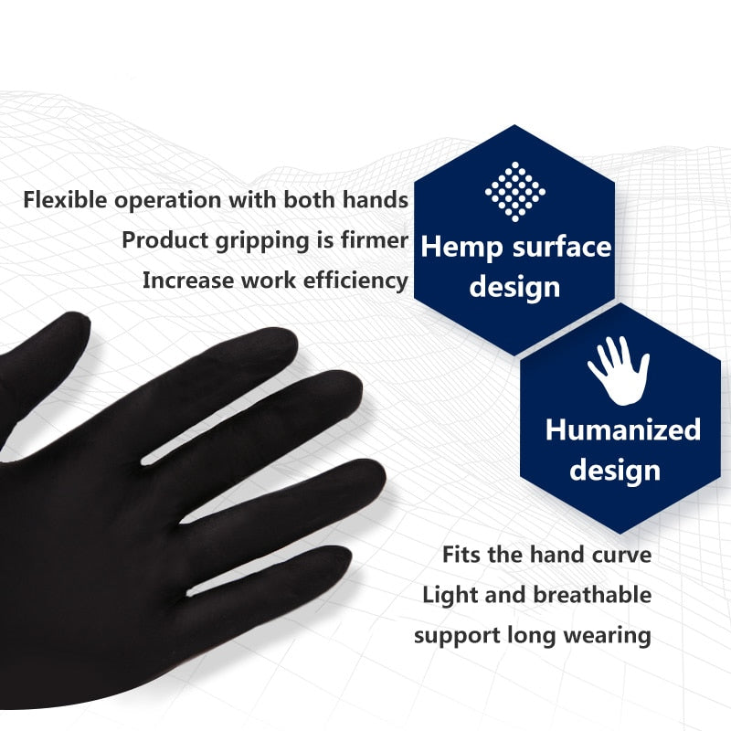 50/100PCS Black Disposable Gloves Latex Dishwashing/Kitchen/Medical /Work/Rubber/Garden Gloves Universal For Left and Right Hand  Product Name:Disposable latex gloves  Color:Blue, Black, Whit