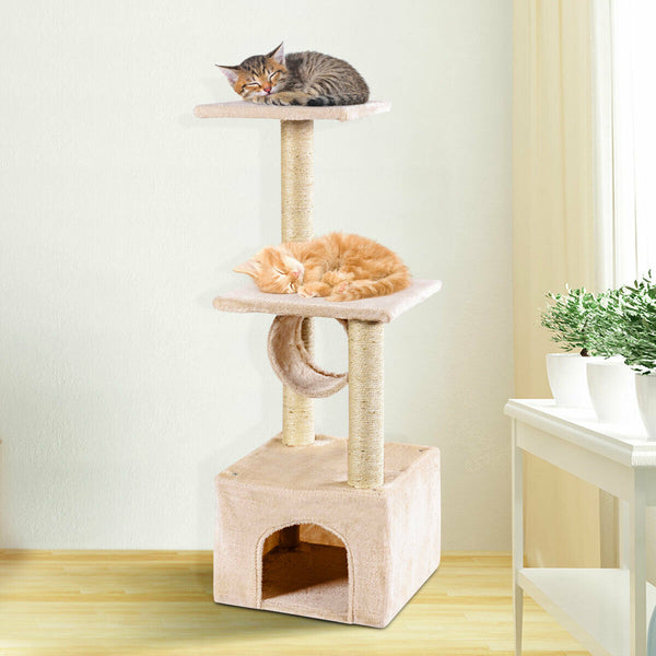 Cat Tree Condo Furniture Play Toy Scratch Post Kitten Pet House Beige - mbrbproducts