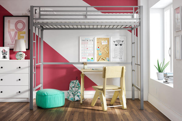 YourZone Metal Loft Bed, Twin Size, Multiple Colors - mbrbproducts