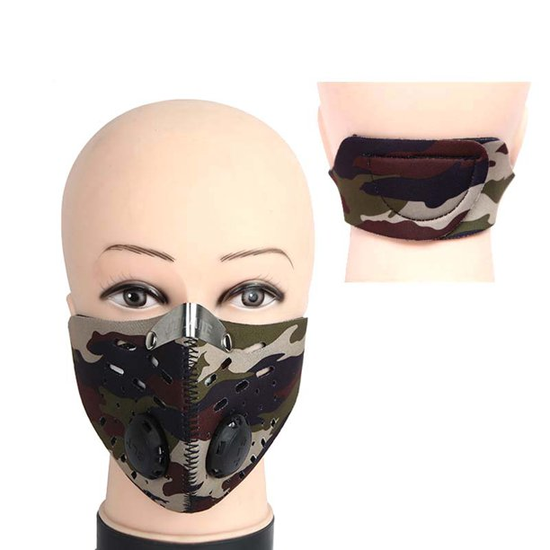 Adult Breathable Cycling Face Mask Air Filter Bike Bicycle Riding Hiking Face Masks,Camouflage - mbrbproducts