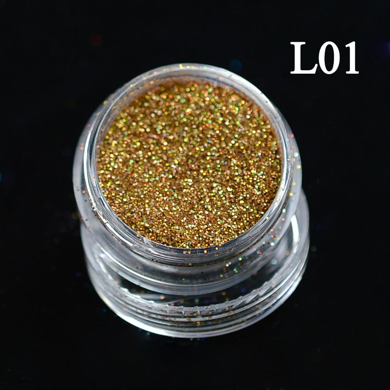 1 Bottle Shining Dust Nail Art Glitter Decoration Pigment Powder Chrome Sequin Pink Laser Silver Polish Manicure Tool - mbrbproducts