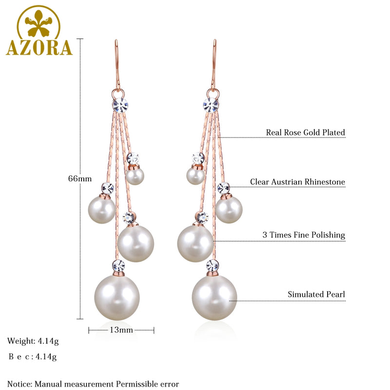 Women's Crystal Simulated Pearl Four Chain Bridal Long Dangle Hook Earrings Ivory Color Fashion Jewelry Accessories - mbrbproducts