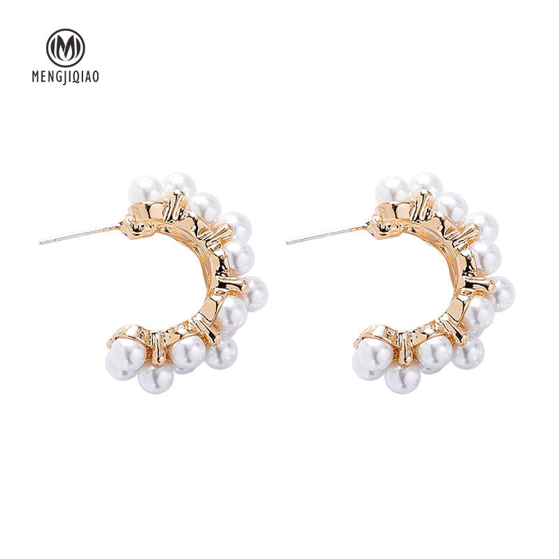 New Vintage Japan Korean Hoop Earrings For Women Handmade Sweet Simulated Pearl Circle Jewelry - mbrbproducts