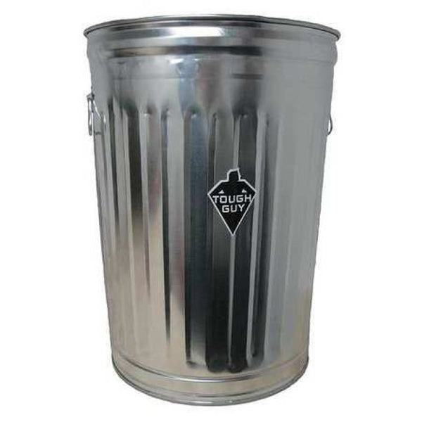 TOUGH GUY 2PYX5 20 gal. Galvanized steel Round Trash Can, Open, Silver - mbrbproducts