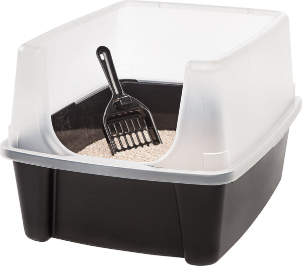 IRIS USA, Open-Top Cat Litter Box with Shield and Scoop, Black - mbrbproducts