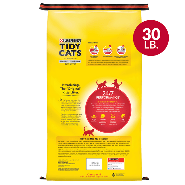 Purina Tidy Cats Non Clumping Cat Litter, 24/7 Performance Multi Cat Litter, 30 lb. Bag - mbrbproducts