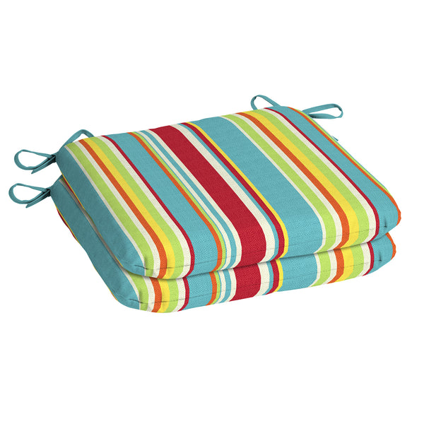 Multi Stripe 15.5 x 17 in. Outdoor Dining Seat Cushion, Set of 2 - mbrbproducts