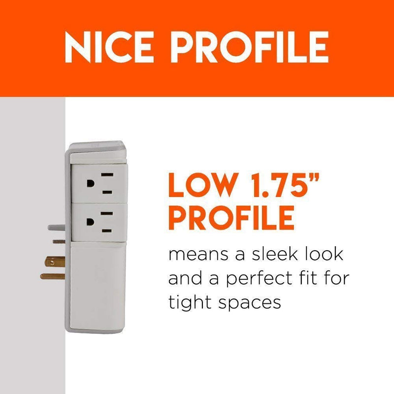 On-Wall Surge Protector with 6 Pivoting AC Outlets & 1080 Joules of Surge Protection - Low Profile Design Installs Over Existing Outlets to Protect Your Gea - mbrbproducts
