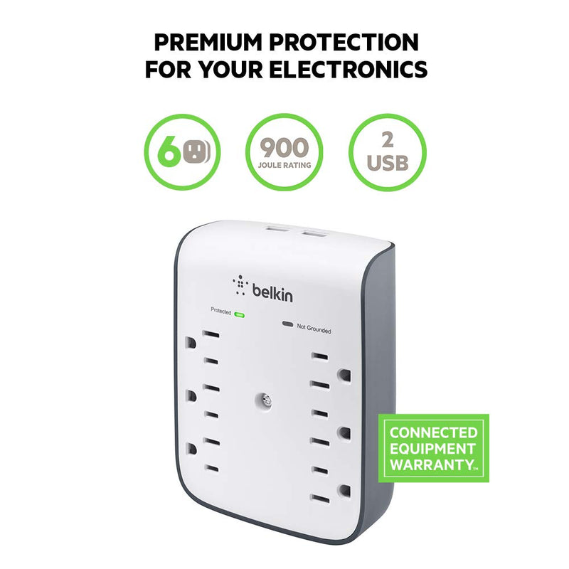 6-Outlet USB Surge Protector w/Wall Mount - Ideal for Mobile Devices, Personal Electronics, Small Appliances and More (900 Joules) - mbrbproducts