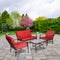 Mainstays Stanton Cushioned 4-Piece Patio Conversation Set, Red - mbrbproducts