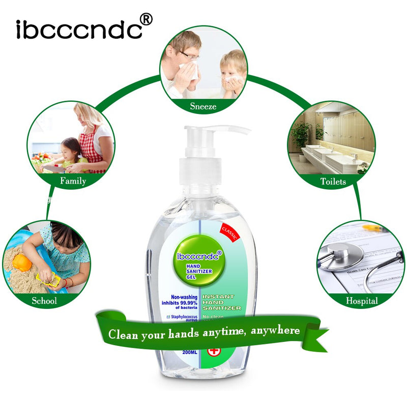 200ml Anti Bacterial Disposable Hand Sanitizer Hand Disinfection Gel Quick-Dry Handgel 75% Ethanol for Kids Adults Home Bathroom - mbrbproducts