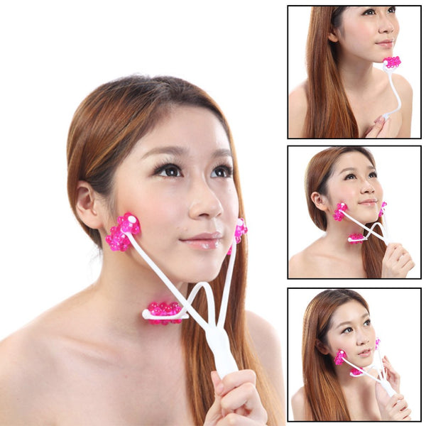 2 In 1 Face Roller Massager for Face Tightening and Lifting, 3D Roller Face Massager Double Chin Remover, Face Slimming Massager Neckline Slimmer Jaw Exerciser Facial Lift Roller Body Massage