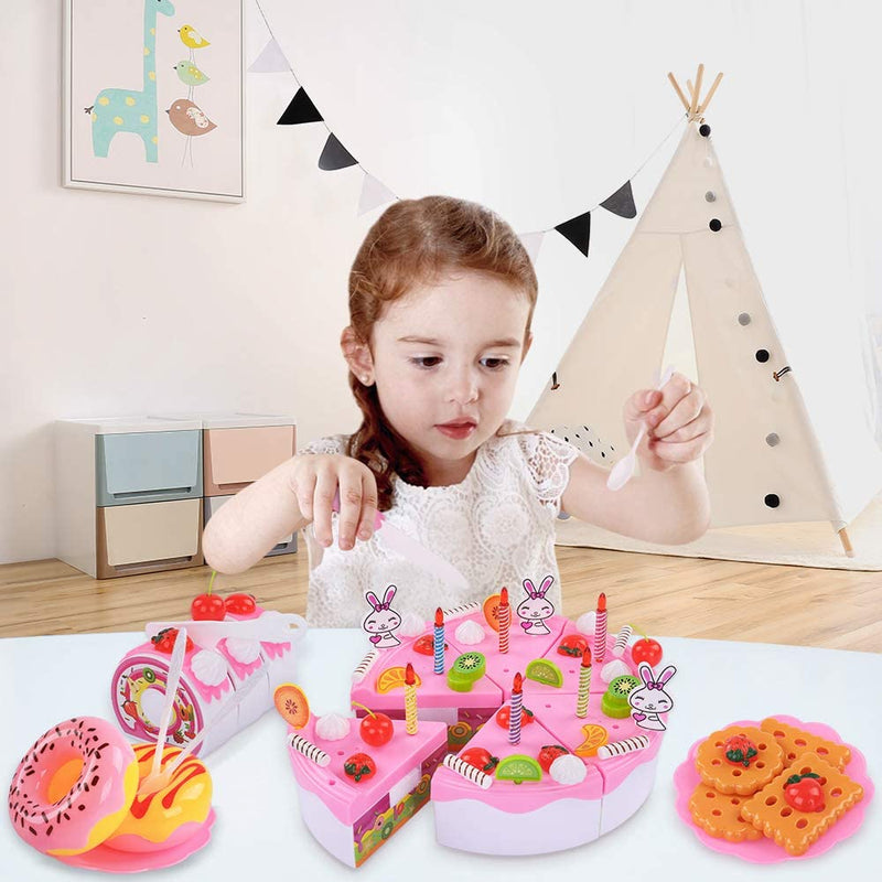 TEMI Pretend Play Food for kids, DIY 71 PCS Cutting Birthday Party Cake Toys Set w/ Candles Fruit Dessert, Early Educational Kitchen Toy for Children - mbrbproducts