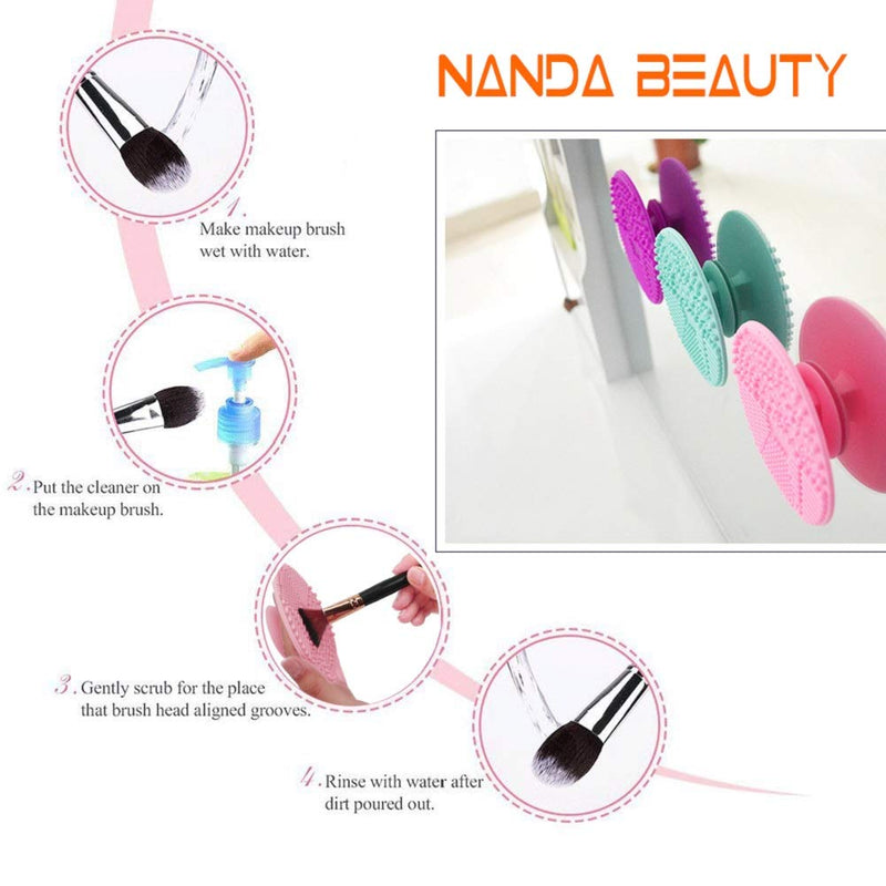 Brush Cleaning Mat ,Silicone Makeup Cleaning Brush Scrubber Mat Portable Washing Tool Cosmetic Brush Cleaner with Suction Cup for Valentines Day - mbrbproducts
