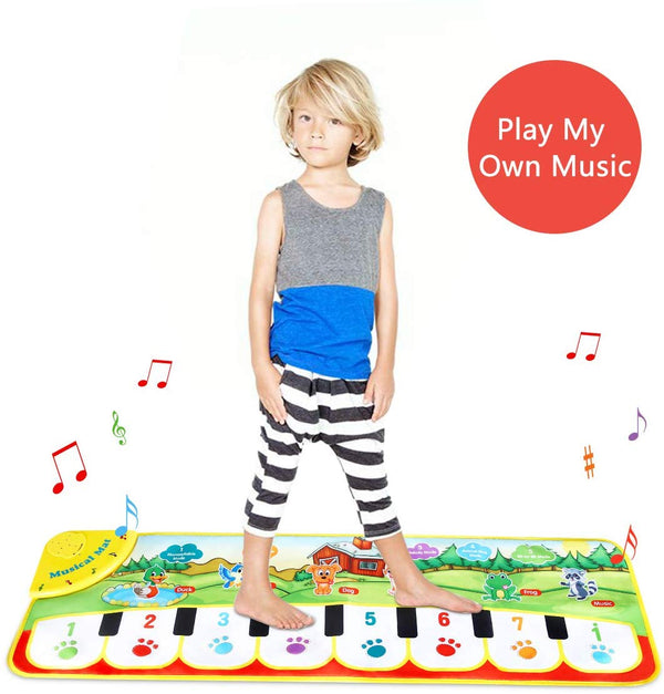 Kids Piano Music Mat Baby Musical Toys,Dance Mat Musical Instruments for Toddler 8 Key and 8 Song Animal Sound Educational Toy Gift - mbrbproducts