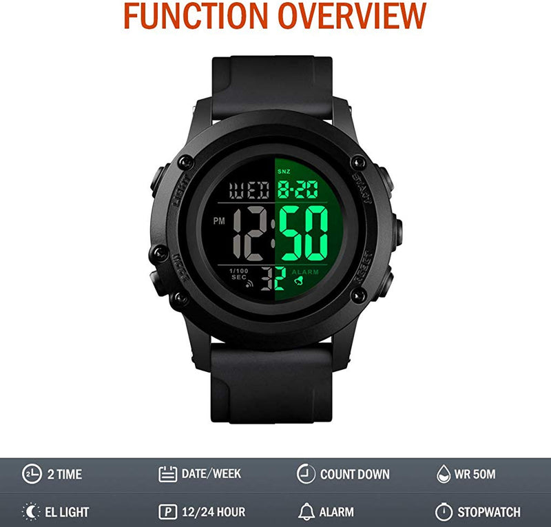 Men's Digital Sports Watch Large Face Waterproof Wrist Watches for Men with Stopwatch Alarm LED Back Light - mbrbproducts