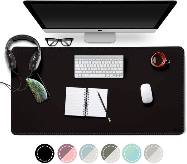 "Office Desk Mat, Waterproof Desk Blotter Protector, Desk Writing Mat Mouse Pad (Classical Black, 31.5"" x 15.7"") - mbrbproducts"