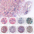 12Boxes Nails Holographic Chunky Glitter Face Body Eye Hair Nail Festival Stars Hexagons Shaped Mirror Sequins Nail Art - mbrbproducts