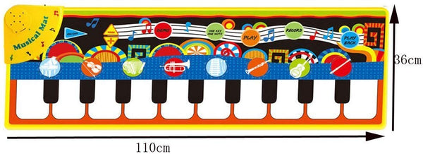 Piano Play Music Mat Touch Keyboard for Baby Gift 10 Key Step on Keyboard and 8 Selectable Musical Instruments - 43.3'' x14.2'' - mbrbproducts