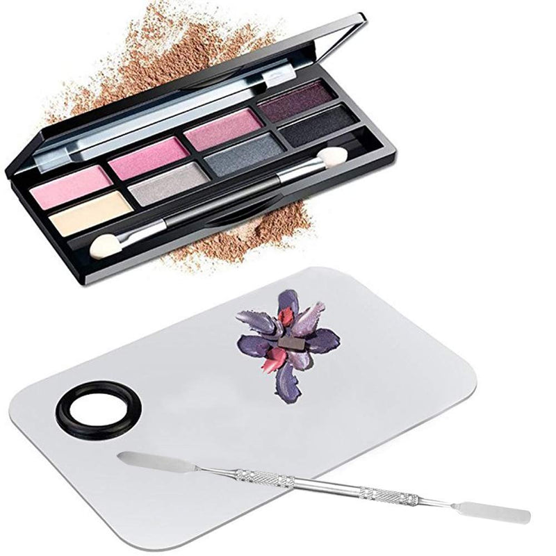 Professional Pro Stainless Steel Makeup Palette Cosmetic Palette with Spatula Tool Makeup Art Tool For Nail Art Eye Shadow Eyelash Makeup Professional Pigment Blending(6 x 4 Inch Sliver - m