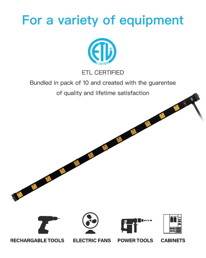 12 Outlet Heavy Duty Workshop Metal Power Strip with 3-Foot Long Extension Cord with Circuit Breaker, for Workshop and Industrial use, ETL Certified,Black - mbrbproducts