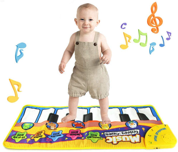 Baby Play Mat Toddler Toys - Music Piano Mat for Kids, Keyboard Piano Play Mat Music Dance Mat Portable Musical Blanket Build-in Speaker & Recording Function Piano Keyboard Mat - mbrbproducts
