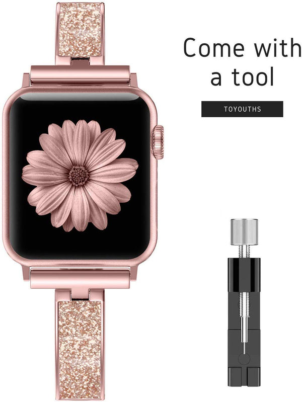 Compatible with Apple Watch Band Pink Women 40mm Series 5 4 Metal Slim Jewelry Compatible iWatch Series 3 2 1 38mm - mbrbproducts