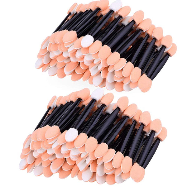 200 Pack Disposable Eyeshadow Brush Sponge Tipped Oval Makeup Tool Dual Sides Eyeshadow Brush Comestic Applicator for Lady Women Daily Beauty (Black) - mbrbproducts