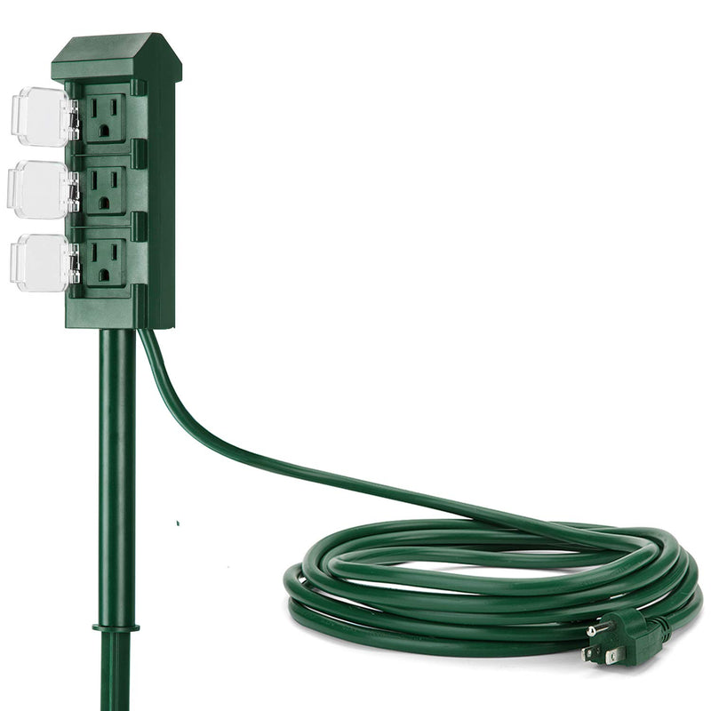 Outdoor Power Strip with 12 Foot Long Extension Cord, 3-Outlet Yard Power Stake with Weatherproof Protective Covers, ETL Certified, Green - mbrbproducts