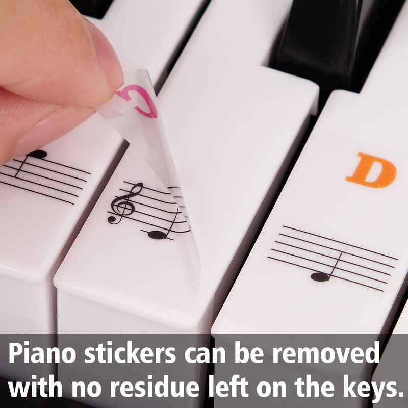 Piano Stickers for Keys, Eison Colorful Piano Keyboard Stickers for 88/61/54/49/37 Full Set Stickers Kids Learning Piano, Removable, Leaves No Residue, Multi-Color,Great Children's Gift - mbr
