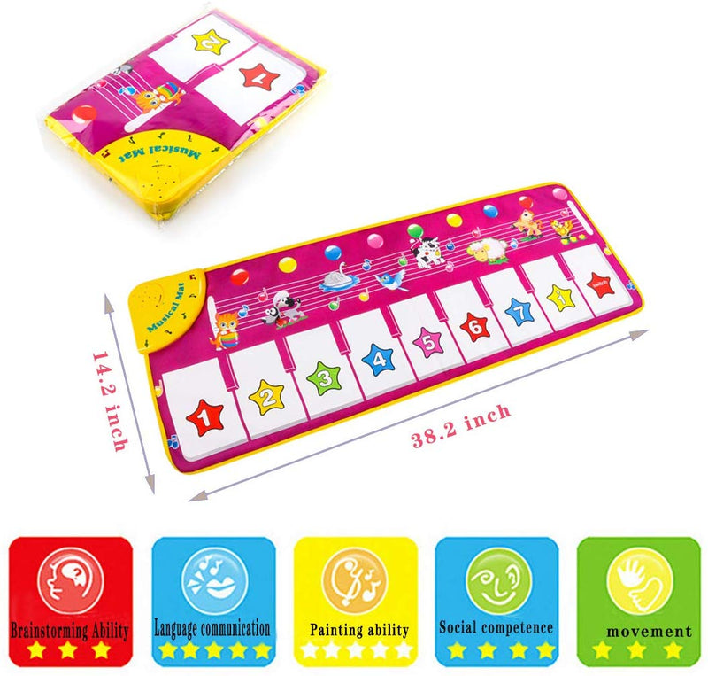 Musical Piano Mat for Baby Toddler, Early Educational Toys for Boys Girls Birthday Xmas Gifts for Kids - mbrbproducts