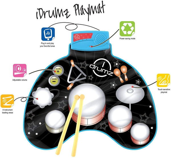 Kids Electronic Touch Sensitive Play Mat Drum Set With Real Drum Sounds - mbrbproducts