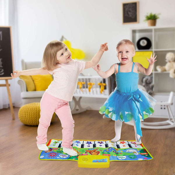 Piano Musical Mat,Educational Pre-Kindergarten Toys,15 Keys Floor Mat 28inch x 11.5inch--No Volume Control - mbrbproducts