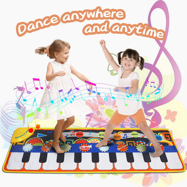 Music Mat Toy for Kids Toddlers Age 1-8 Years Old, 19 Piano Key Playmat Touch Play Game Dance Blanket Carpet Mat with Record, Playback, Demo, Adjustable Vol, Educational Toys for Girls Boys,