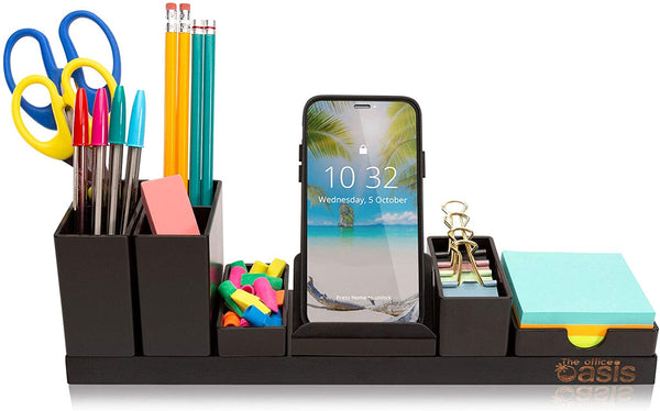Office Desk Accessories Pencil Cup, Phone Stand, Sticky Note Tray Black - mbrbproducts