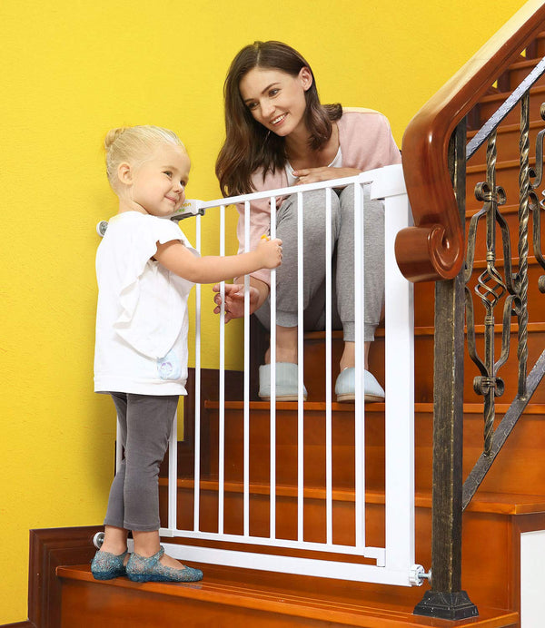 Baby Gates for Stairs and Doorways Dog Gates for The House, 30-40.5 inches - Indoor Safety Gates for Kids or Pets, Walk Through Extra Wide Tall Metal Gate Pressure Mount Auto Close - mbrbprod