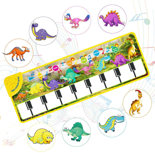 Kids Musical Mat, Tencoz Piano Mat Baby 8 Dinosaur Sounds Dance Mat Speaker & Recording Multifunctional Education Toys for Baby Toddler Birthday Xmas Christmas Gifts for Boys Girls - mbrbprod
