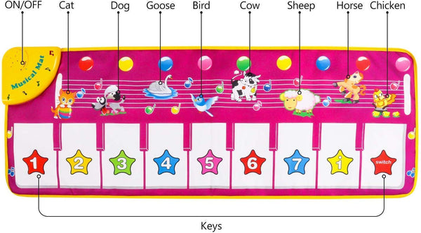 Music Dance Mat Piano Keyboard Mat Foot Musical Keyboard Play Mat with 8 Animal Sounds Musical Touch Play Game Gifts for Kids Toddlers Girls Boys,39'' x 14' - mbrbproducts