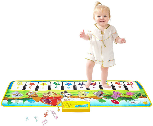 "Kids Piano Mat, 39.5"" X 14"" Piano Keyboard Dancing Mat Electronic Funny Animal Touch Carpet Musical Blanket Toys for 3 Year Old Girl Birthday Gifts for Kids Girls Boys Green - mbrbproducts"