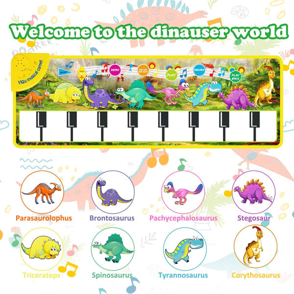 Kids Musical Piano Mat - 43.5 x 14'' Play Keyboard Mat, Electronic Music Carpet 8 Dinosaurs Touch Play Blanket Funny Xmas Gifts Toys for Girls Boys Toddlers Infant Kids Age 3 4 5 6 Years Old