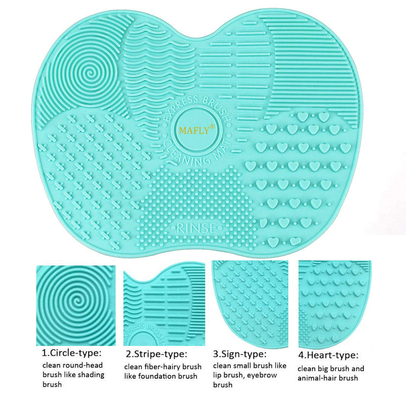 Silicone Makeup Brush Cleaning Mat, Makeup Brush Cleaner,Makeup Brush Cleaner Pad,Cosmetic Brush Cleaning Mat Portable Washing Tool Scrubber with Suction Cup (Mint Green) - mbrbproducts