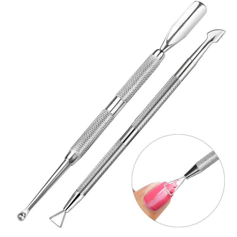 Cuticle & nail care set - Stainless steel cuticle pusher with spoon shaped nail cuticle cleaner and triangle cuticle peeler and scraper to remove gel nail polish - nail art remover tool (Silv