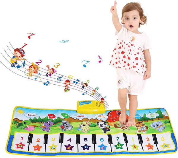 Musical Mat, Piano Mat Baby Musical Game Carpet Mat Musical Instrument Toy Touch Play Keyboard Gym Play Mat for Kids (Green) - mbrbproducts