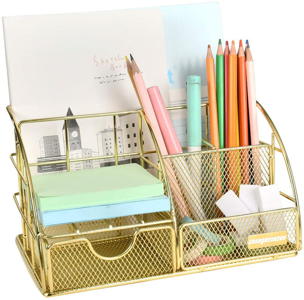 Rose Gold Desk Organizer for Women, AUPSEN Mesh Office Supplies Desk Accessories 2020 - mbrbproducts