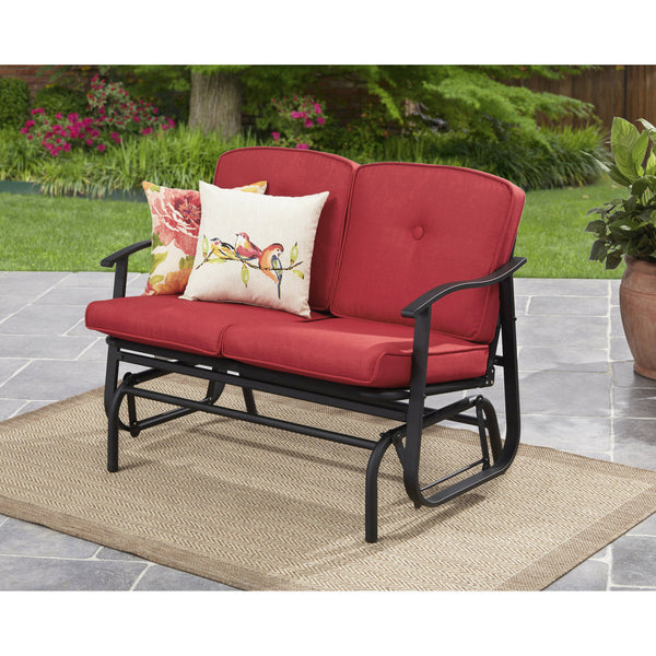 Mainstays Belden Park Outdoor Loveseat Glider Chair with Cushion, Navy Blue - mbrbproducts