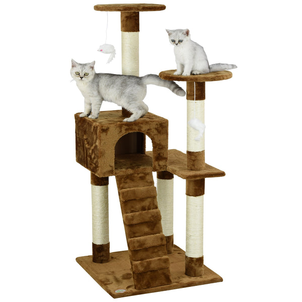 Cat Tree Furniture, Brown High Sitting 52 inch - mbrbproducts