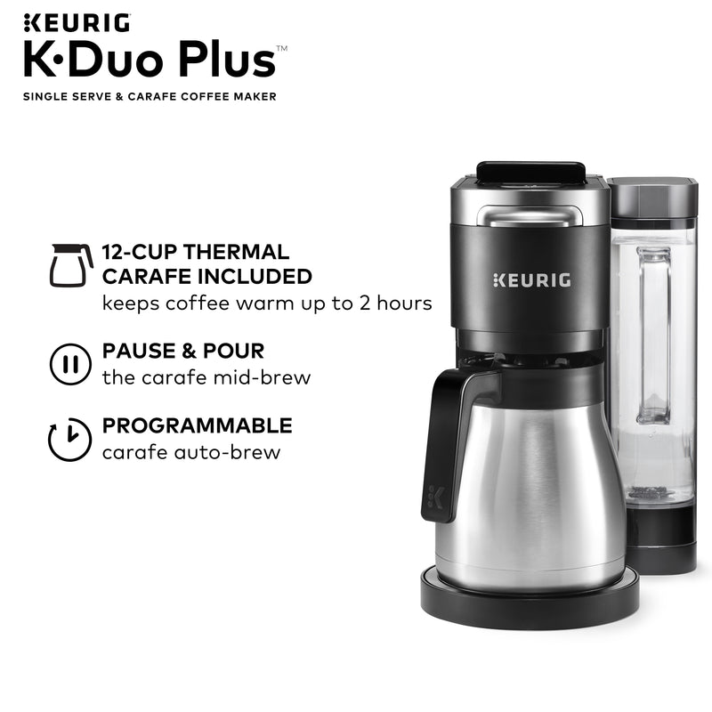 Keurig K-Duo Plus Coffee Maker, with Single Serve K-Cup Pod and 12 Cup Carafe Brewer, Black - mbrbproducts