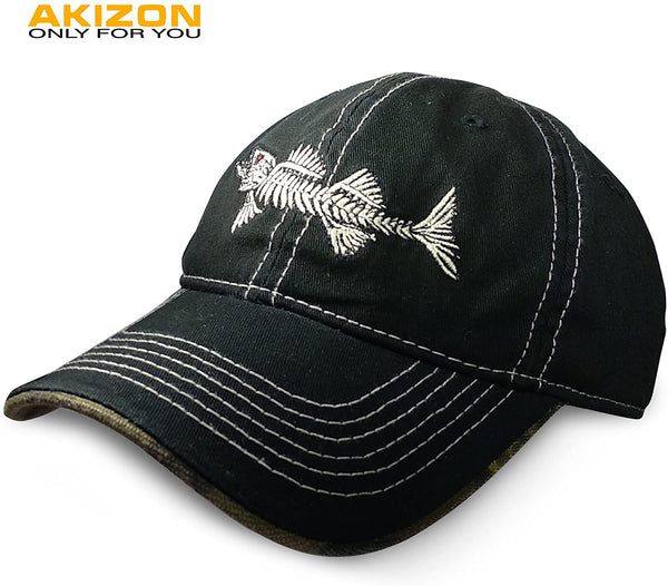 Mens Ball Hats Baseball Cap Logo Fish Bones Fishing Dad Hat - mbrbproducts